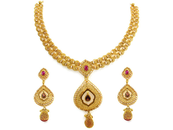 54.30g 22kt Gold Antique Necklace Set - 268