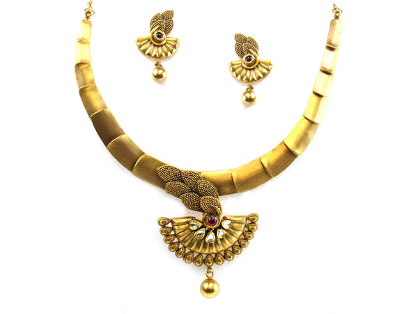 50.60g 22kt Gold Antique Necklace Set - 271