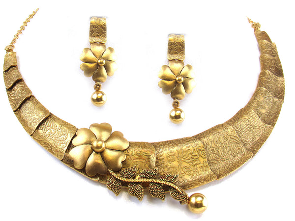 46.16g 22kt Gold Antique Necklace Set - 274