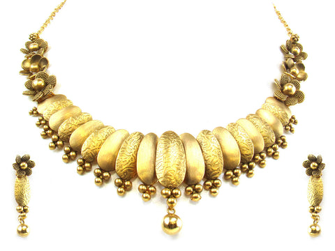 58.96g 22kt Gold Antique Necklace Set India Jewellery