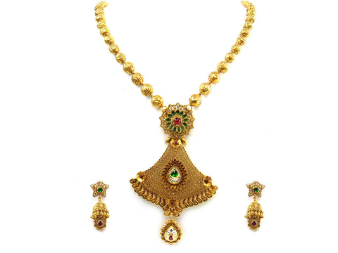 78.40g 22kt Gold Antique Necklace Set India Jewellery