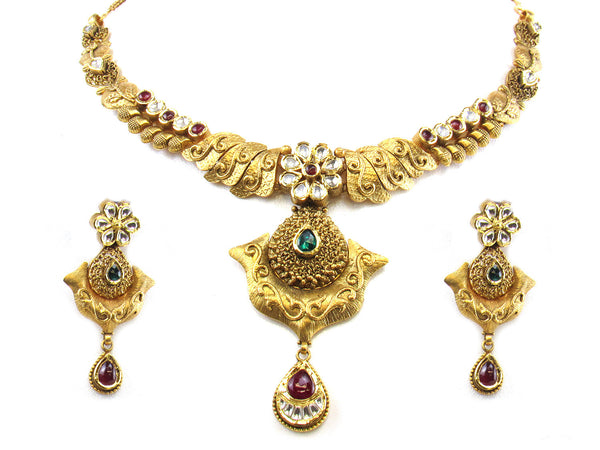 50.41g 22kt Gold Antique Necklace Set - 278
