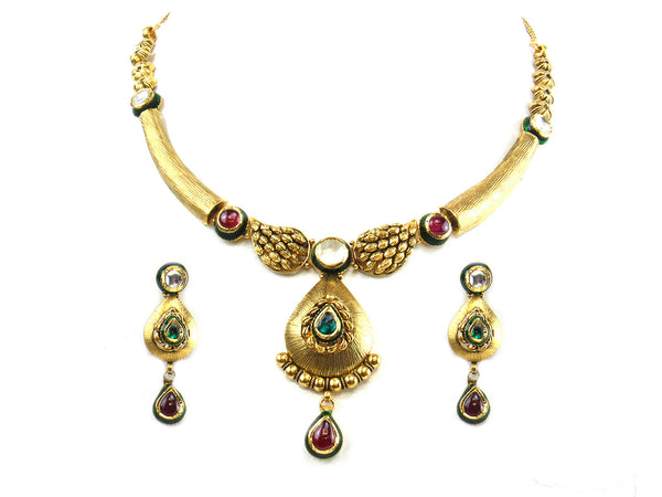 38.56g 22kt Gold Antique Necklace Set - 279