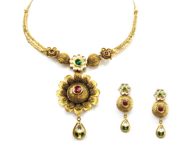 44.40g 22kt Gold Antique Necklace Set - 283