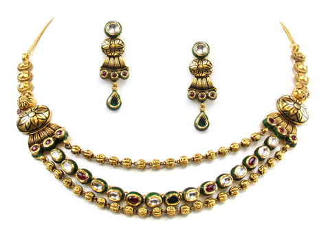 42.50g 22kt Gold Antique Necklace Set India Jewellery