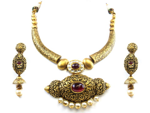 89.59g 22kt Gold Antique Necklace Set India Jewellery