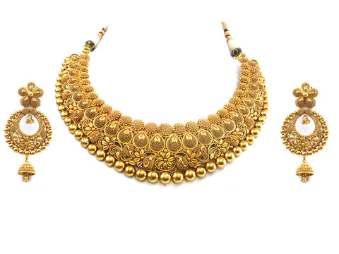 135.35g 22kt Gold Antique Necklace Set India Jewellery