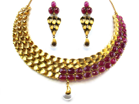 63.73g 22kt Gold Antique Necklace Set India Jewellery