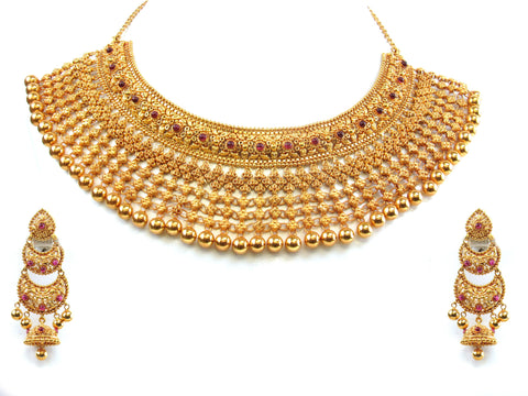 119.60g 22kt Gold Antique Necklace Set India Jewellery
