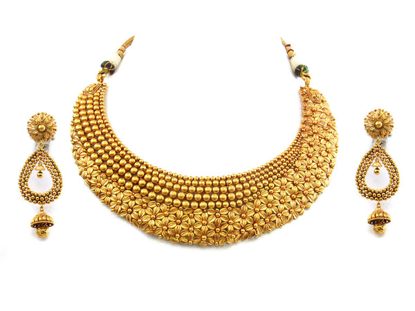 94.58g 22kt Gold Antique Necklace Set - 293