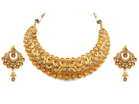 143.61g 22kt Gold Antique Necklace Set India Jewellery