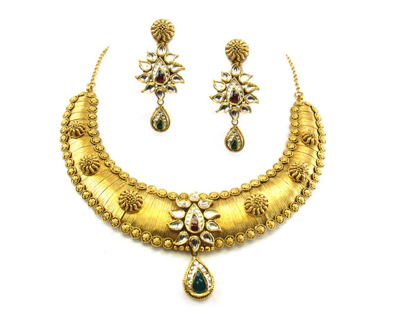 77.89g 22kt Gold Antique Necklace Set - 295
