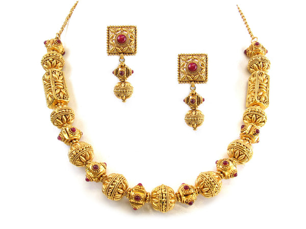 80.70g 22kt Gold Antique Necklace Set - 301