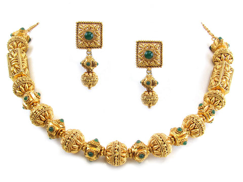 80.75g 22kt Gold Antique Necklace Set India Jewellery