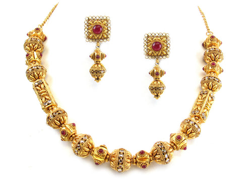 86.95g 22kt Gold Antique Necklace Set India Jewellery