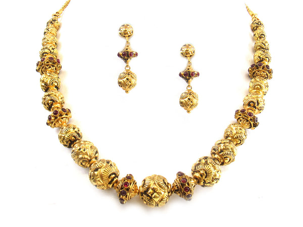 58.00g 22kt Gold Antique Necklace Set - 305