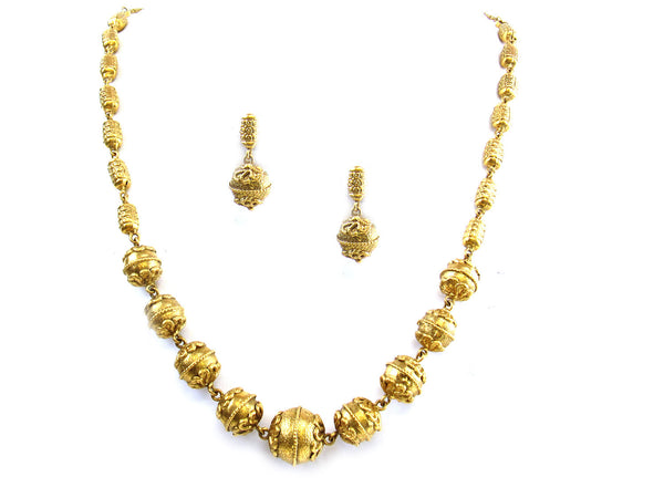 45.20g 22kt Gold Antique Necklace Set - 306