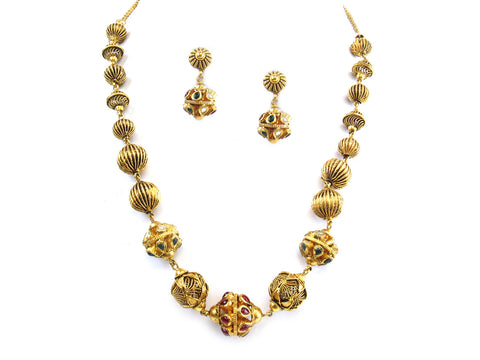 62.00g 22kt Gold Antique Necklace Set India Jewellery
