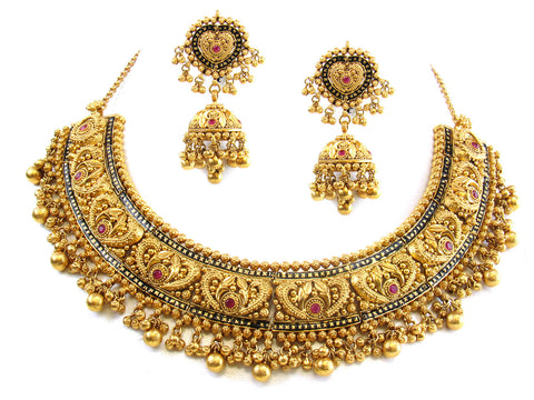147.20g 22kt Gold Antique Necklace Set India Jewellery