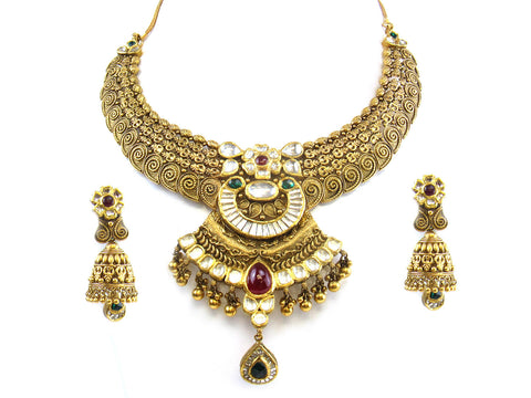 107.52g 22kt Gold Antique Necklace Set India Jewellery