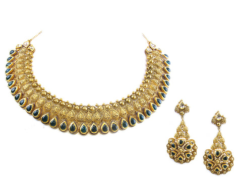 103.93g 22kt Gold Antique Necklace Set India Jewellery