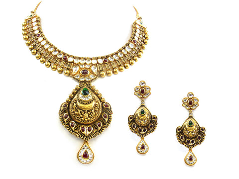 111.90g 22kt Gold Antique Necklace Set India Jewellery