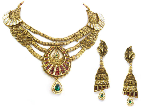 121.20g 22kt Gold Antique Necklace Set India Jewellery