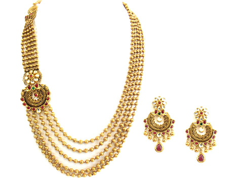 120.90g 22Kt Gold Antique Necklace Set India Jewellery
