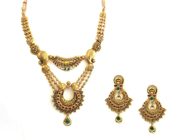 81.90g 22Kt Gold Antique Necklace Set - 319