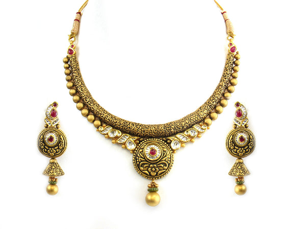 91.35g 22Kt Gold Antique Necklace Set - 328