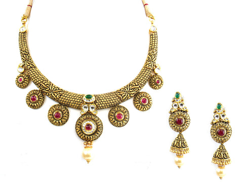63.60g 22Kt Gold Antique Necklace Set India Jewellery