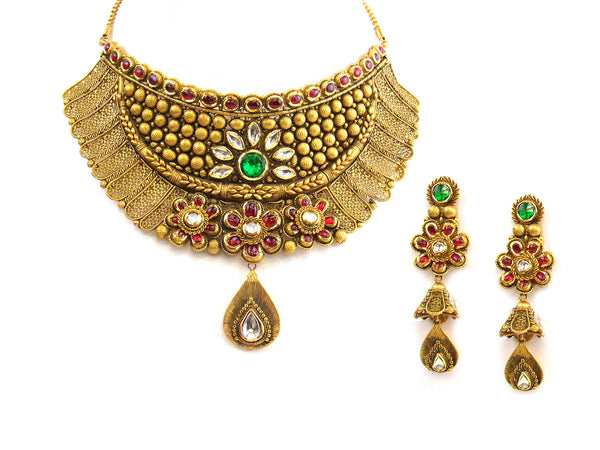 153.85g 22Kt Gold Antique Necklace Set - 331
