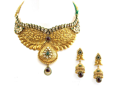 105.00g 22Kt Gold Antique Necklace Set India Jewellery