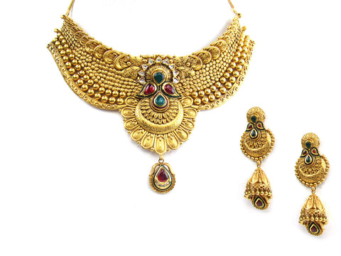 116.00g 22Kt Gold Antique Necklace Set India Jewellery