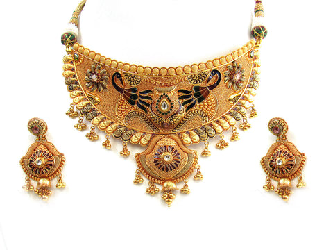 59.10g 22Kt Gold Antique Necklace Set India Jewellery