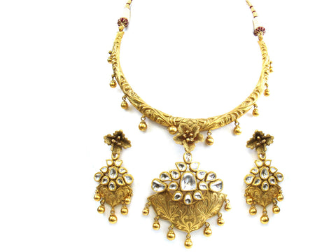 110.85g 22Kt Gold Antique Necklace Set India Jewellery