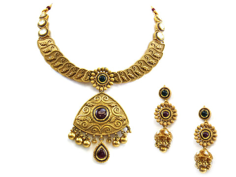 92.35g 22Kt Gold Antique Necklace Set India Jewellery