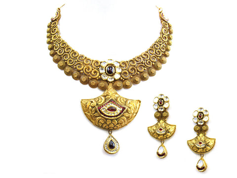 114.35g 22Kt Gold Antique Necklace Set India Jewellery