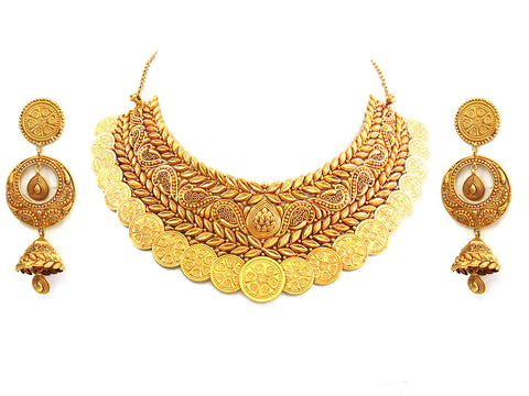 126.67g 22Kt Gold Antique Necklace Set India Jewellery