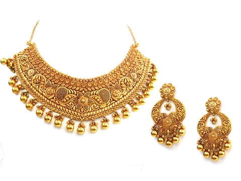 123.20g 22Kt Gold Antique Necklace Set India Jewellery