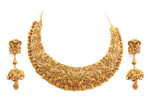 135.75g 22Kt Gold Antique Necklace Set India Jewellery