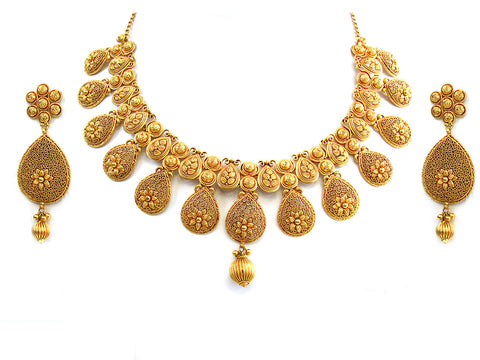 95.62g 22Kt Gold Antique Necklace Set India Jewellery