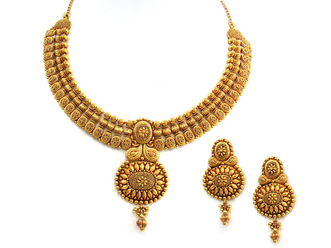 83.80g 22Kt Gold Antique Necklace Set India Jewellery