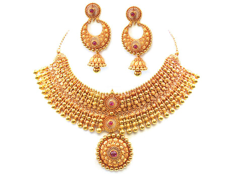 122.94g 22Kt Gold Antique Necklace Set India Jewellery