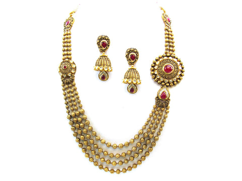 102.70g 22Kt Gold Antique Necklace Set India Jewellery