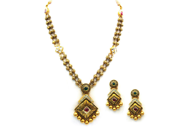 54.65g 22Kt Gold Antique Necklace Set - 356