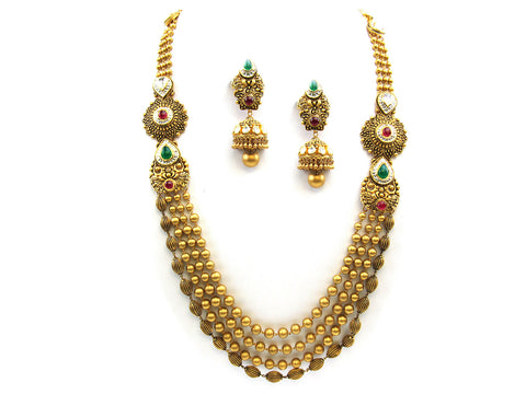 122.20g 22Kt Gold Antique Necklace Set India Jewellery