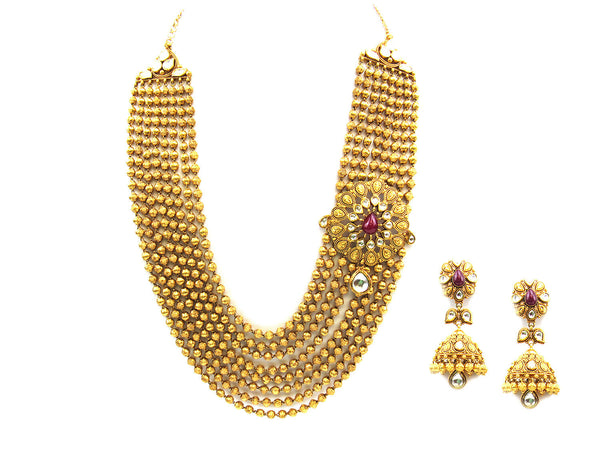201.15g 22Kt Gold Antique Necklace Set - 359