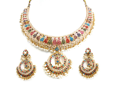 79.65g 22Kt Gold Jarou Necklace Set India Jewellery