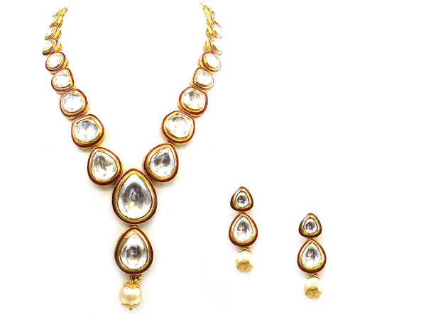 130.70g 22Kt Gold Kundan Necklace Set - 151